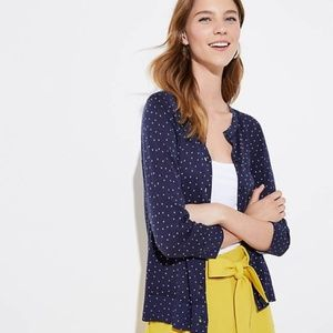 LOFT Dotted 3/4 Sleeve Signature Cardigan s